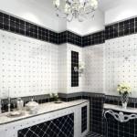 Черно-белый интерьер ванной